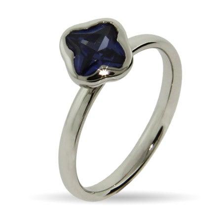 Purple Amethyst CZ Petals Stackable Ring | Eve's Addiction®