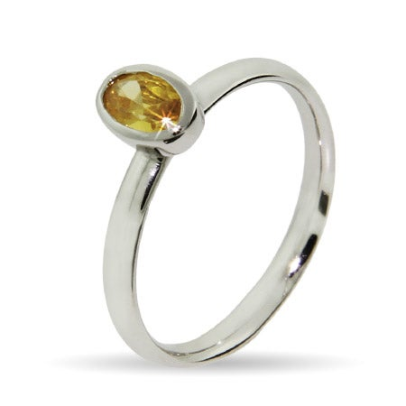 Oval Canary CZ Silver Stackable Ring | Eve's Addiction®