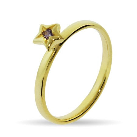 Gold Vermeil Amethyst CZ Star Stackable Ring | Eve's Addiction®