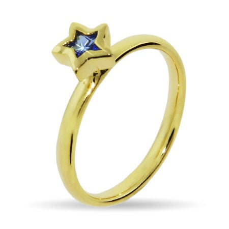 Gold Vermeil Sapphire Blue CZ Star Stackable Ring| Eve's Addiction®