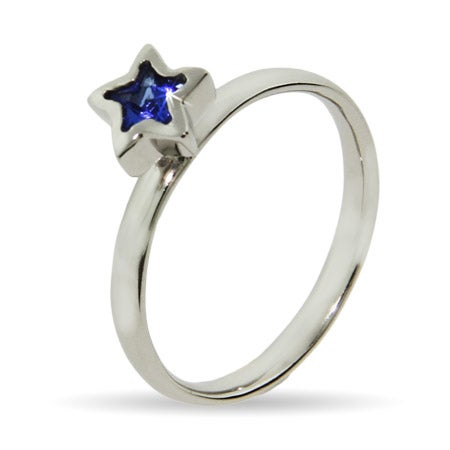Blue CZ Star Silver Stackable Ring | Eve's Addiction®