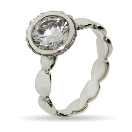Round Brillant Cut Vintage CZ Stackable Ring | Eve's Addiction®