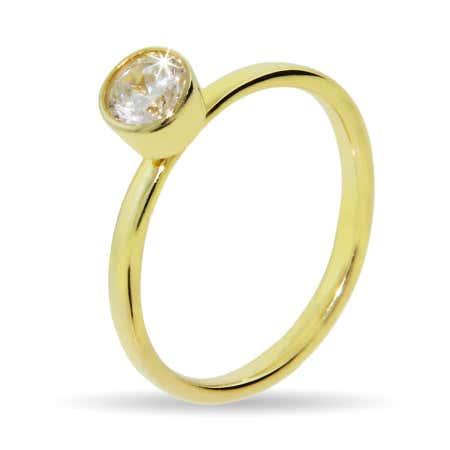 Gold Vermeil Solitaire Bezel CZ Stackable Ring | Eve's Addiction®