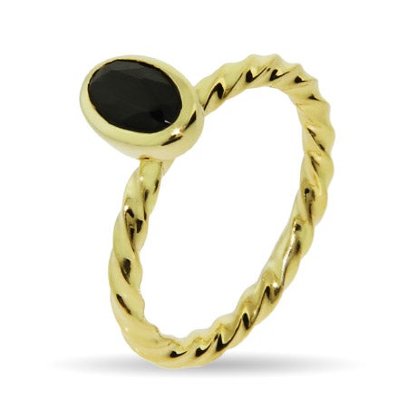 Gold Vermeil Black Onyx Stackable Ring | Eve's Addiction®