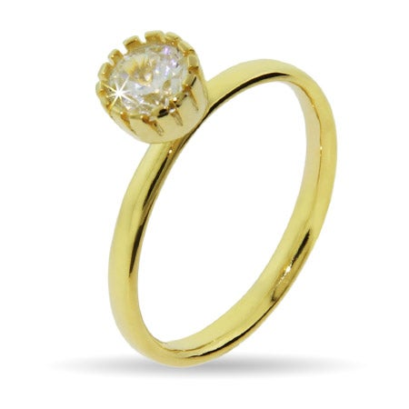 Gold Vermeil Crown Set CZ Stackable Ring | Eve's Addiction®