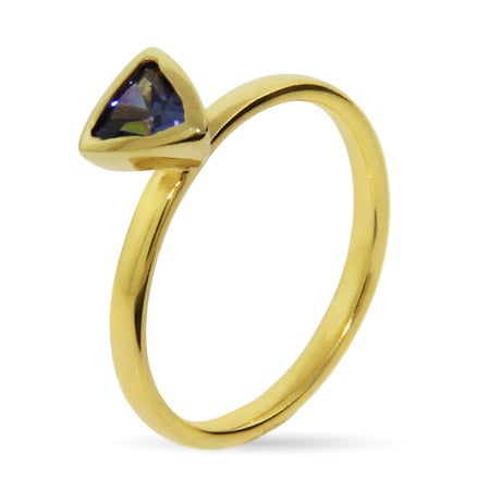 Gold Vermeil Amethyst CZ Stackable Ring | Eve's Addiction®