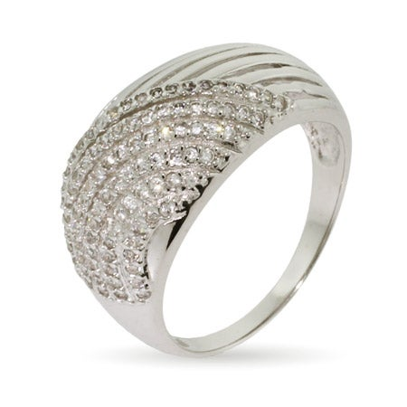 Micropave CZ Dome Shaped Sterling Silver Ring | Eve's Addiction®