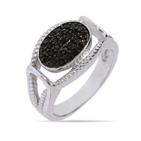 Designer Inspired Black Onyx CZ Sterling Silver Cabled Knot Ring