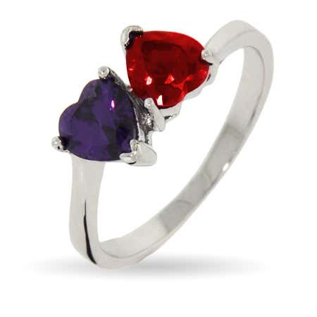 Loving Hearts Couples Silver Two Birthstone Ring