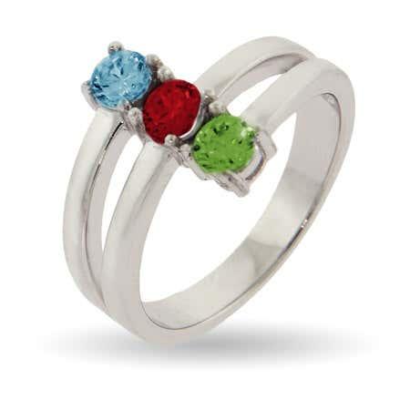 Custom 3 Stone Vertical Silver Birthstone Ring