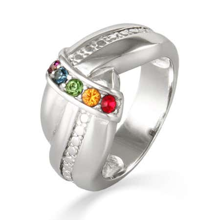 5 Stone Custom Birthstone Sterling Silver Love Knot Ring