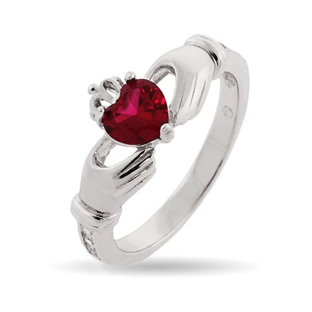 Custom Birthstone Claddagh Ring in Sterling Silver | Eve's Addiction®