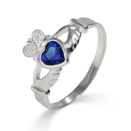 Sterling Silver Sapphire CZ Claddagh Ring   Eve's Addiction®