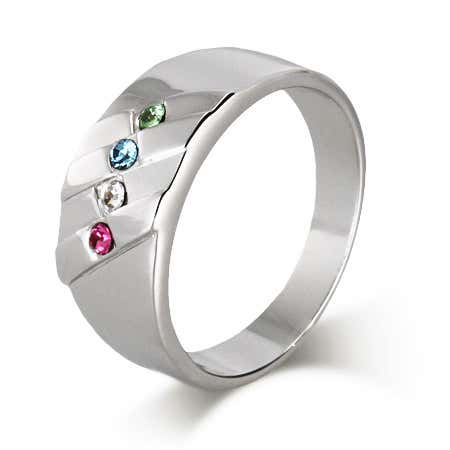 display slide 1 of 5 - 4 Stone Men's Family Birthstone Sterling Silver Ring - selected slide