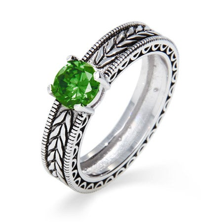Vintage Style Leaf Design Custom Birthstone Ring | Eve's Addiction®