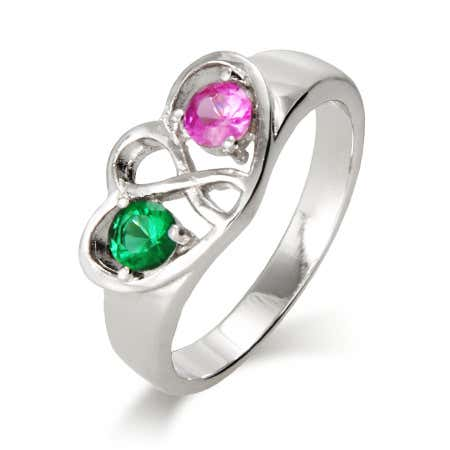 Two Birthstone Infinity Sterling Silver Ring