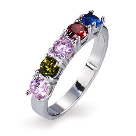 5 Stone Round Cut CZ Silver Custom Birthstone Ring