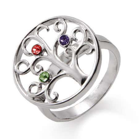 Grandchildren jewelry for grandma family tree ring with three custom birthstones