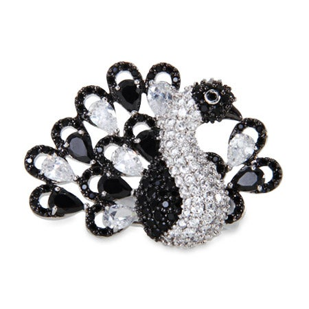 Sterling Silver Black and White CZ Peacock Cocktail Ring | Eve's Addiction®