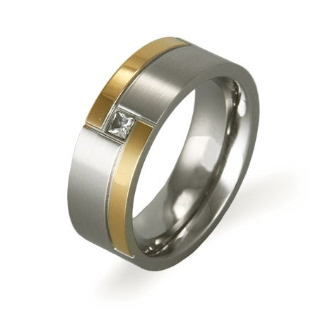Men's Two Tone Steel Ring with Embedded CZ | Eve's Addiction®