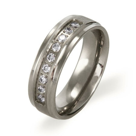 Beveled Edge Titanium Ring with Cubic Zirconia | Eve's Addiction®
