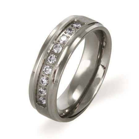 Beveled Edge Titanium Ring with Cubic Zirconia