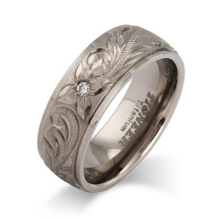Handcrafted Heirloom Design CZ Titanium Ring | Eve's Addiction®