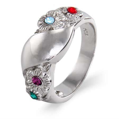 Custom 4 Stone Floral Design Initial Birthstone Ring
