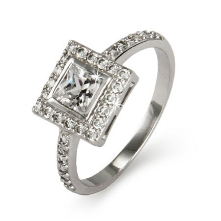 Bezeled Princess Cut CZ Ring in Sterling Silver | Eve's Addiction®