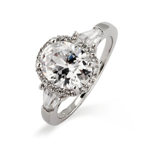 Sterling Silver Oval Halo Heirloom CZ Ring | Eve's Addiction®
