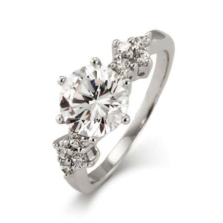 Brilliant Cut CZ Engagement Ring with CZ Cluster Design