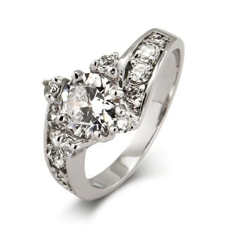 Elegant CZ Engagement Ring   Eve's Addiction®