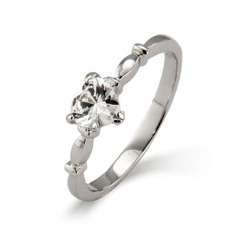 display slide 1 of 2 - Sterling Silver Simple CZ Heart Promise Ring - selected slide