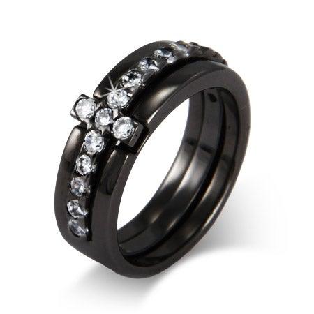 Black Rhodium CZ Sideways Cross Ring   Eve's Addiction®