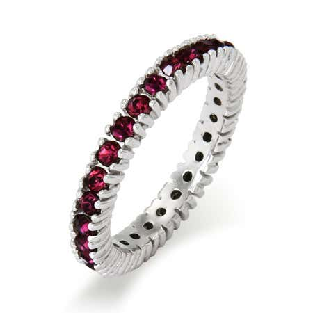 display slide 1 of 2 - Dainty February CZ Birthstone Stackable Ring - selected slide