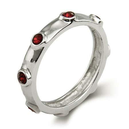 January Round Garnet Birthstone Bezeled Ring