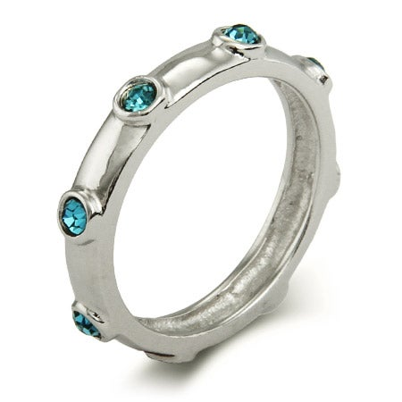 Aquamarine March Birthstone Bezeled Ring in Sterling Silver | Eve's Addiction®