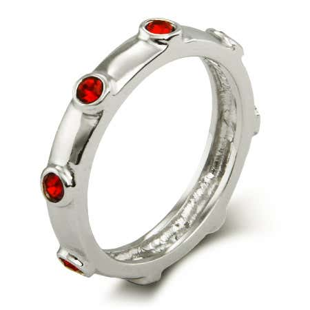 Ruby Red July Birthstone Bezeled Silver Ring