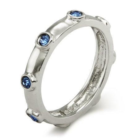 Sapphire Blue September Birthstone Bezeled Ring   Eve's Addiction®