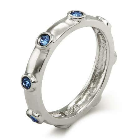 Sapphire Blue September Birthstone Bezeled Ring