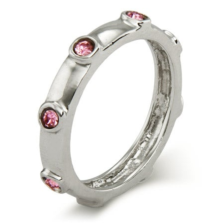 Pink October Birthstone Bezeled Polished .925 Silver Ring | Eve's Addiction®