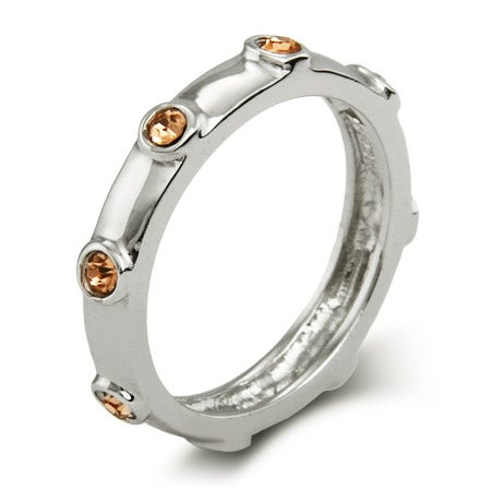 Citrine CZs November Birthstone Bezeled 3mm Ring | Eve's Addiction®