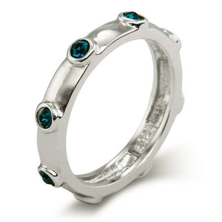 display slide 1 of 1 - Women's Blue Zircon December Birthstone Bezeled Ring - selected slide
