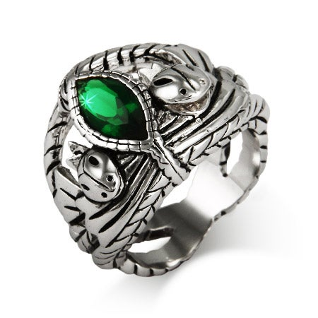 Marquise Cut Green CZ Intricate Silver Ring | Eve's Addiction®