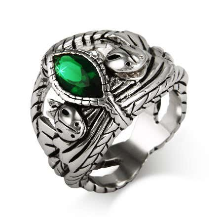 Marquise Cut Green CZ Intricate Silver Ring
