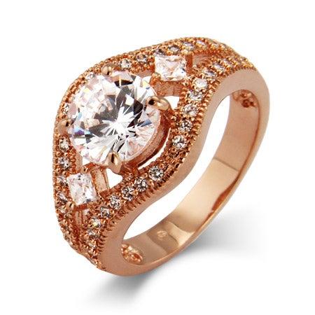 Brilliant Cut CZ Vintage Rose Gold Ring | Eve's Addiction