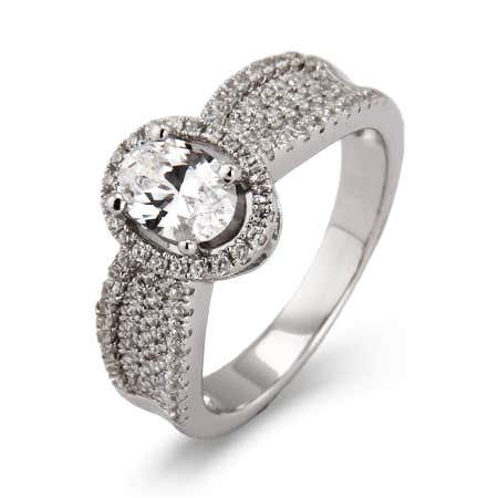 Halo Oval Cut Micro Pave CZ Ring | Eve's Addiction®