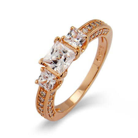 Rose Gold Princess Cut CZ Past, Present and Future Ring | Eve's Addiction®
