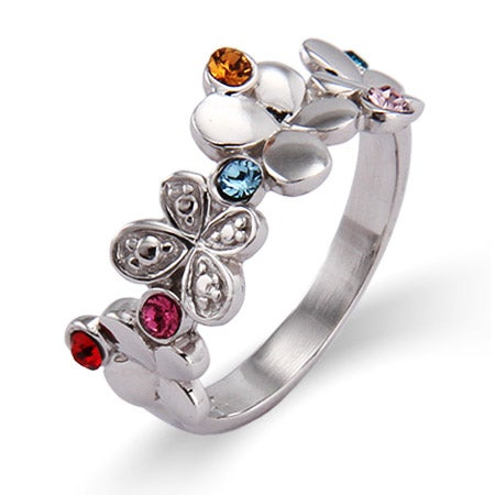 6 Stone Fluttering Butterflies Sterling Silver Custom Birthstone Ring | Eve's Addiction®