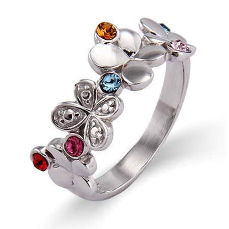 6 Stone Fluttering Butterflies Sterling Silver Custom Ring